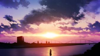 Water sunset clouds grass twintails scenic anime girls wallpaper