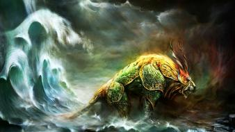Waves chinese guild wars fantasy art creatures artwork wallpaper