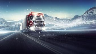Winter snow cars scania wallpaper