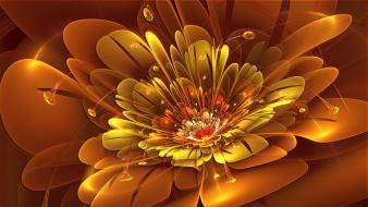 Abstract flowers orange deviantart digital art july wallpaper