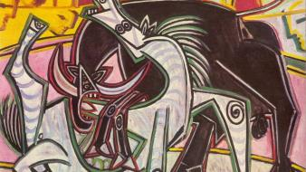 Artwork arena pablo picasso traditional art corrida wallpaper