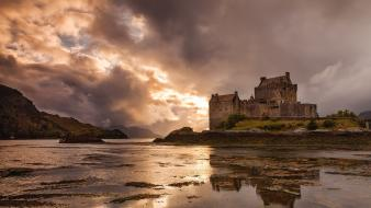 Beach scotland skyscapes reflections eilean donan castle landmark wallpaper