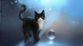 Blue cats animals green eyes digital art apofiss wallpaper