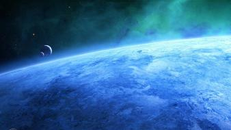 Blue outer space stars planets earth wallpaper