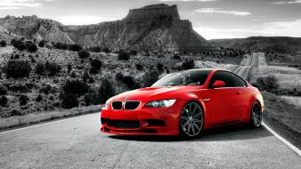 Bmw red cars supercars selective coloring m3 e92 wallpaper