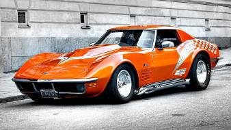 Cars orange selective coloring corvette wallpaper
