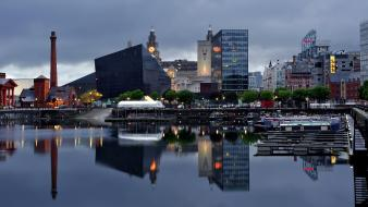 Cityscapes architecture liverpool britain buildings modern reflections Wallpaper