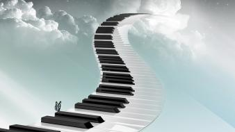 Digital fantasy art piano keys wallpaper