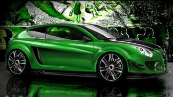 Green cars alfa romeo tuning 3d Wallpaper