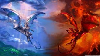 Ice dragons fire fantasy art wallpaper