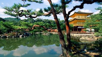 Japan trees flowers asian architecture lakes kinkakuji wallpaper