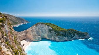 Landscapes nature beach islands greece shipwrecks zakynthos sea wallpaper