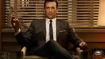 Men mad jon hamm cigarettes window blinds wallpaper