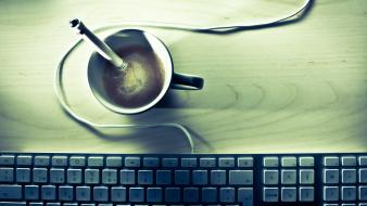 Minimalistic coffee keyboards macro pencils wires wallpaper