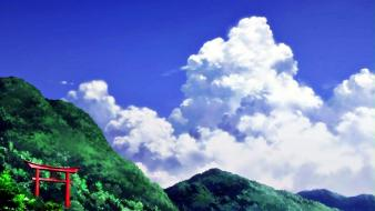 Mountains clouds trees natsuiro kiseki skies Wallpaper