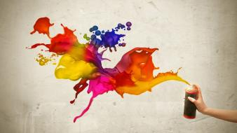 Multicolor digital art 3d colors spraycan paint splatter wallpaper