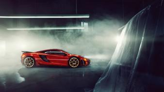 Night cars smoke mclaren mp4-12c parking lot wallpaper