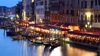 Night venice grand italy canal cities city Wallpaper