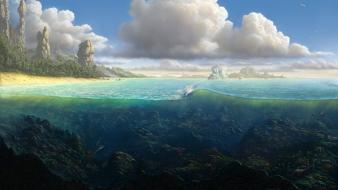 Ocean clouds fish rocks plants artwork underwater split-view wallpaper