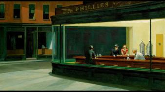 Paintings edward hopper nighthawks at the diner wallpaper