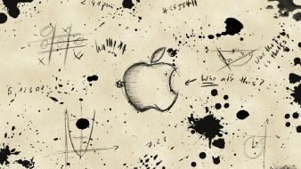 Paper sketches sheet apples splashes wallpaper