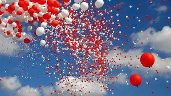 Red white balloons skyscapes Wallpaper
