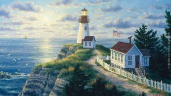 Rock houses lighthouses artwork skyscapes wallpaper