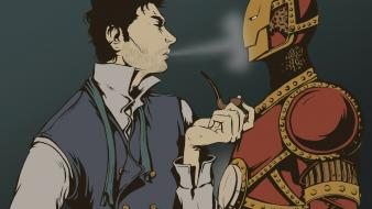 Sherlock holmes artwork pipes crossovers fan art wallpaper