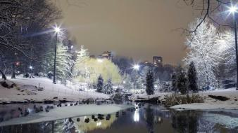 Snow cityscapes city lights lakes reflections night wallpaper