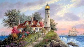 Trees tower houses lighthouses oceans artwork sea wallpaper