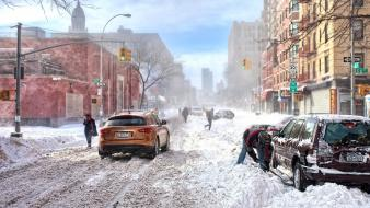 Winter cityscapes streets new york city wallpaper