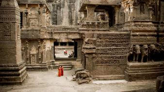 Women landscapes dress architecture rocks people temple india wallpaper