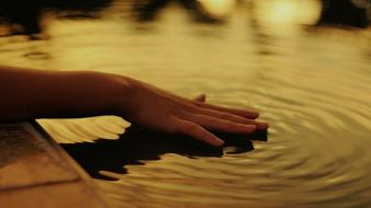 Women water hands ripples wallpaper