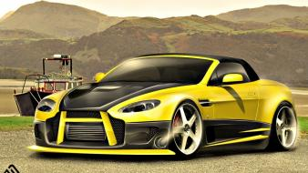 Yellow cars design tuning 3d v8 aston martin wallpaper