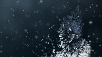 Blue birds feathers sparks monochrome artwork wallpaper