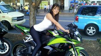 Brunettes tights girls with bikes honda cbr 600 Wallpaper
