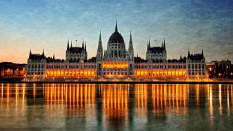 Buildings hungary budapest rivers reflections parliament houses wallpaper