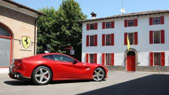Cars ferrari buildings logos red sports f12 berlinetta Wallpaper