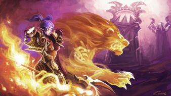 Cats fire blizzard entertainment firelands night elf wallpaper