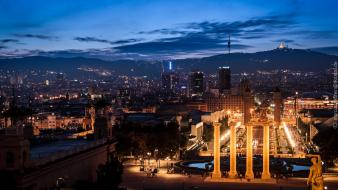 Cityscapes skylines night barcelona spain wallpaper