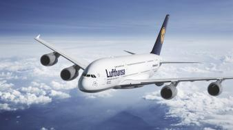 Clouds aircraft air skyscapes lufthansa wallpaper