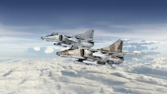 Clouds aircraft war military skyscapes mig-27 wallpaper