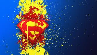 Dc comics superman logo blue background paint splatter wallpaper