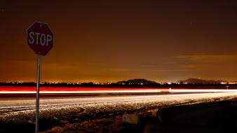Edge long exposure stop signs light trails wallpaper