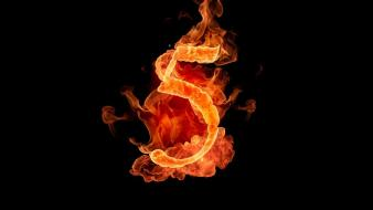 Flames black fire typography numbers five wallpaper