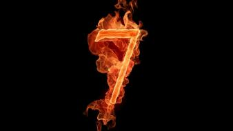 Flames black fire typography numbers seven wallpaper