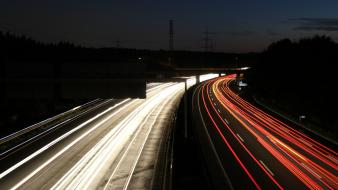 Highway long exposure german white light red trails wallpaper
