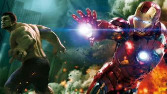 Iron man explosions action the avengers (movie) Wallpaper