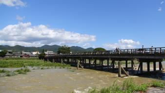 Japan bridges kyoto blue skies wallpaper