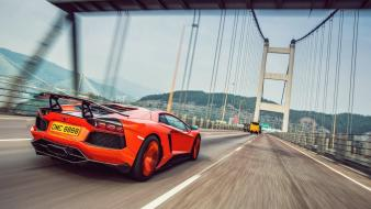 Lamborghini bridges highway roads aventador molto veloce wallpaper